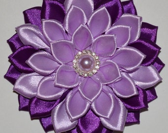 Handmade Girl's Flower Hair Clip/Bow in Purple Colour, School/Wedding/Christening/Party