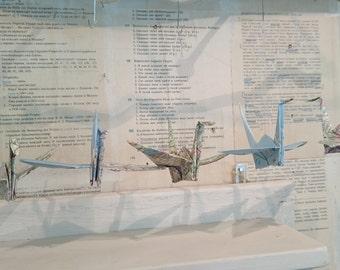 5 Origami Kraniche aus Landkarten