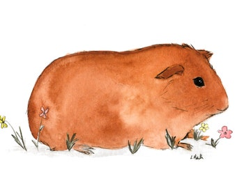 Cavy Cute Small Animals: Original Watercolor Painting Print - Red Brown Hermes Guinea Pig No. 3