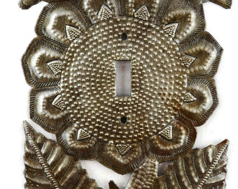 Recycled Metal Rocker Switch Plate Cover, Sunflower, Lighting