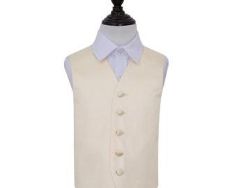 Satin Solid Boy's Champagne Wedding Waistcoat