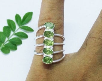 Exclusive NATURAL PERIDOT Gemstone Ring, Birthstone Ring, 925 Sterling Silver Ring, Fashion Ring, Artisan Handmade Ring, All Size, Gift Ring