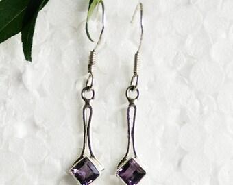 Genuine NATURAL PURPLE AMETHYST Gemstone Earrings, Birthstone Earrings, 925 Sterling Silver Earrings, Handmade Earrings, Dangle Earrings