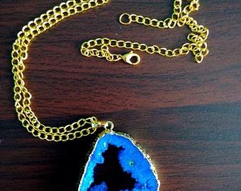 Dark Blue Druzy on Gold Necklace