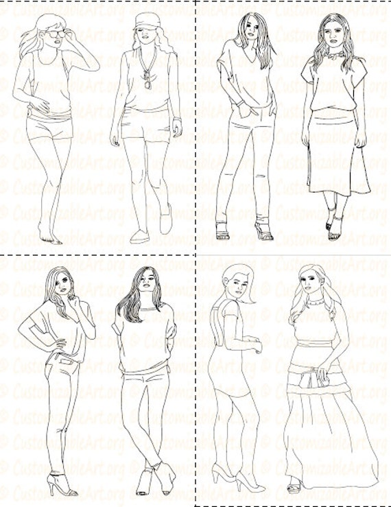 Fashion Coloring Book Printable Girl Women Pages Sheets Fashionable High Woman Model ImagesGraphic Digital PDF