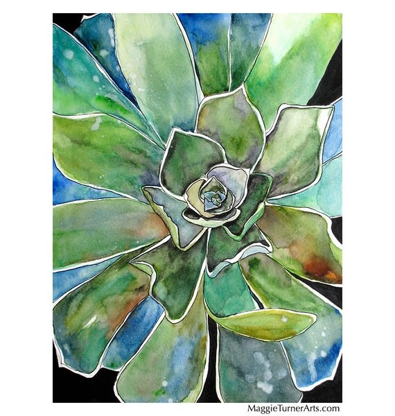 Green Succulent Signed Prints From Original By