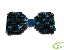 Bow - Hairbow - Bowtie - Pet Fashion Accessory - Turquoise and Black