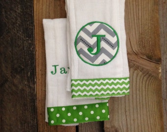 Set of 2 Boy or Girl Monogrammed Burpcloths