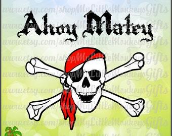 Pirate skull clipart | Etsy