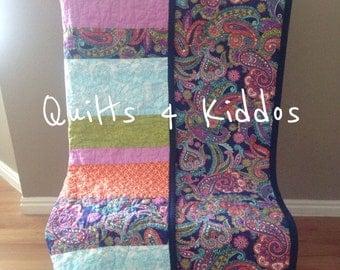 Modern Baby Girl Quilt, Toddler Girl Quilt, Paisley Quilt, Navy Quilt, Orchid Quilt, Aqua Blue Quilt, Green Quilt