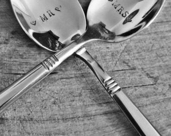 Mr. and Mrs. Personalised teaspoons.