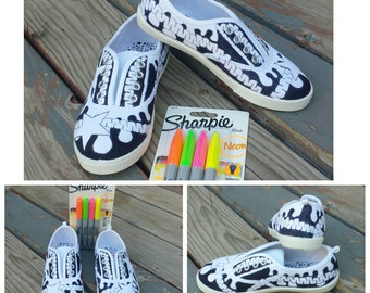 Custom Children's DIY Craft Kit Coloring Book Doodle and Zentangle Shoes