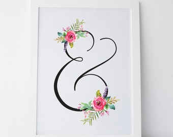 "Printable Art ""Floral Ampersand"" Floral Print Ampersand Print Floral Art Ampersand Art Dorm Print Dorm Art Dorm Decor Wall Print Home Decor"