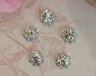 Mini Clear Rhinestone set of Five - Metal Rhinestone Button 11mm - Flatback Rhinestone Button - Crystal Button - Rhinestone Button