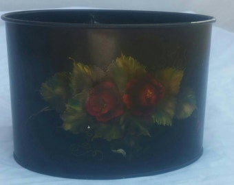 Handpainted oval tole painted container