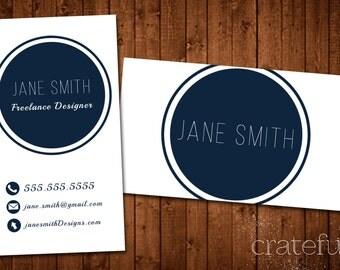 Business Card- Circle- Digital- Printable- Custom