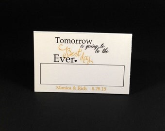 12 Table Place Cards, Tomorrow Is Going To Be The Best Day Ever Place Cards, Wedding Rehearsal Table Place Cards, Wedding Table Setting Card