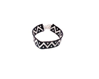 Cuff bracelet black white patterns in peyote stitch