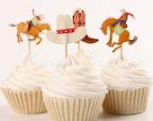 12 Set Cowboy Cupcake Picks,Cake, Toppers, Picks, Party Picks