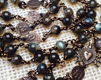 Seven Sorrows of Mary Chaplet, Bronze wire wrap, Grey Green Labradorite 6mm, catholic christian jewelry