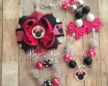 READY TO SHIP Pink & Black Minnie Mouse Chunky Bubblegum Bead Necklace, Bracelet and coordinating Hair Bow Set