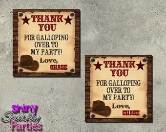 COWBOY THEME PARTY - Western Favor Tags - cowboy party favors - wild west favor tags - Western Birthday Party - Western Wanted Poster - hat