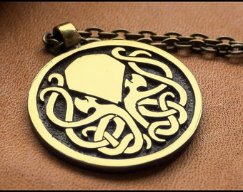 Cthulhu Necklace Brass Metal With Chain