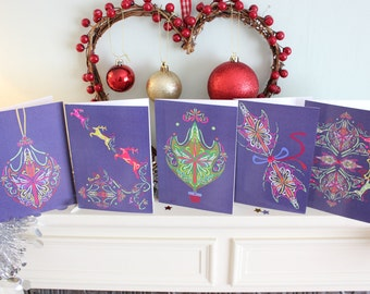 Abstract Neon Christmas Cards (10 Pack)