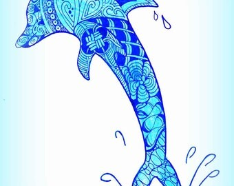 Dolphin Drawing Digital Download