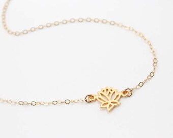 Lotus Necklace / Gold Lotus Flower Necklace / Sterling Silver Lotus Necklace / Gifts for yogis / Yoga Jewelry / Zen Necklace / Boho Yoga