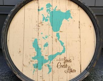 Iowa Great Lakes, IA Map Barrel End