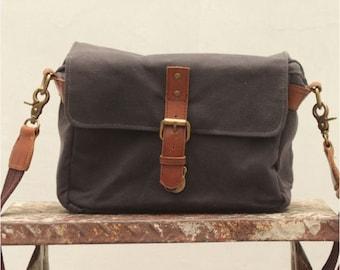 Waxed Canvas Camera Bag (Asphalt Grey) Available on backorder