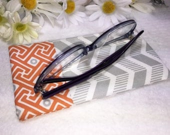 Gray Chevron Glasses Case, Eyeglass Case, Orange Greek Border, Glasses Pouch, Slip Style, Sunglasses Case, Premium Designer Fabric