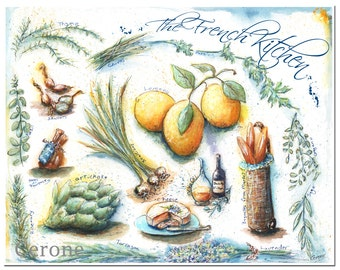 Blue And Yellow Kitchen Wall Art, French Country Recipe Print, Housewarming Gift French Kitchen, Watercolor Food Art Print, 3 Sizes, Lemon
