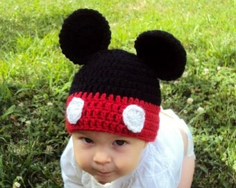Mickey Mouse Baby Hat, Crocheted Mickey Mouse Baby Hat, Crocheted Mickey Mouse Beanie, Mickey Mouse Photo Prop