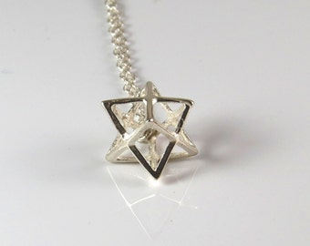 Big silver merkaba necklace , 3D silver star of david necklace , 3D Magen david pendant , kalabla jewelry , Jewish jewelry ,bat mitzva gift