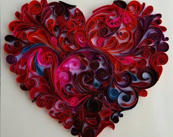 Quilled floral heart perfect anniversary gift