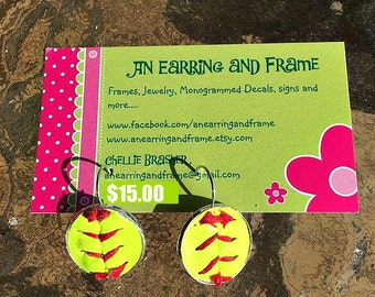 Leather Softball Earrings with Free Shipping