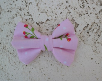 Pink with roses hair bow