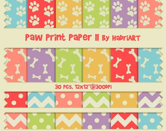 Paw Print Digital Paper Pack Puppy Motives Featuring Bones, Polka Dots, Chevron and Stripe Patterns