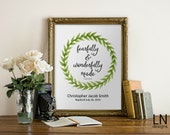Personalized 'fearfully and wonderfully made' Boy Baptism Art Printable File Scripture Art Nursery Art Psalm 139:14