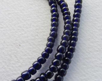African Trade Beads - Cobalt Blue Ghana Glass Beads (4x3mm) [61003]