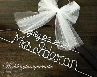 GRAND OPENING SALE  WeddingHanger with date, 2 Line Name Hanger, Bride Hanger,Personalized Hanger, Bridesmaid, Bride Gift, Bridal Party gift