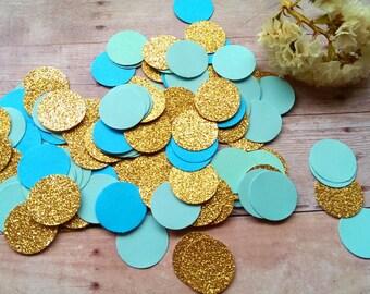 Mint and gold Confetti (240pc) Glitter Gold Confetti, Robin's egg blue,Glitter circle Confetti,Gold and Mint , Teal and Gold Confetti