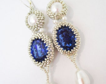 Royal Blue earrings, long earrings, Saphire Earrings, Saphire and Pearl earrings, Wedding earrings, Royal style earrings