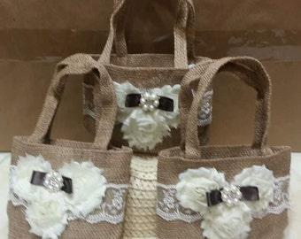 Rustic Flower Girl Basket - Burlap bag - Burlap Flower Girl Basket