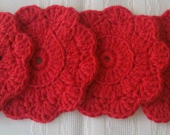 cotton round coasters, 4 red coaster set, cotton coasters, crochet coaster,red cotton coasters, red crochet coasters, red housewares kitchen