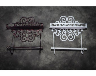 Lavellan scrolled cast iron shelf with towel holder
