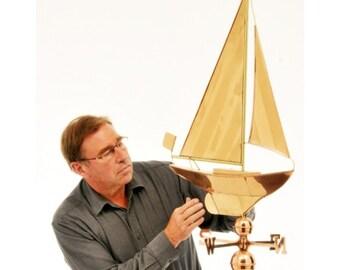 Polished Copper Yacht Weathervane