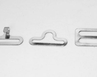 Lot of 100 (19mm) SILVER metal BOW TIE hardware sets (3 pcs per set = 300 pieces total) eye + hook + slide - 3/4""